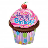 Balão Shape Cupcake Happy Birthday 89cm