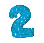 Balão Shape Nº2 Azul Sparkle