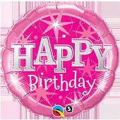 Balão Sparkle Rosa Happy Birthday 91cm