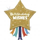 Balão Supershape Estrela Birthday Wishes 109cm