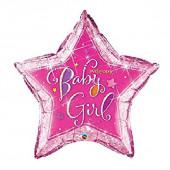 Balão Supershape Estrela Holográfica Baby Girl Welcome