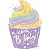 Balão Supershape Glitter Holográfico Cupcake Happy Birthday 69cm