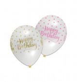 Balões Transparentes Pink Chic Happy Birthday - 6 Und