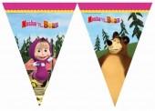 Bandeirolas triangulares Masha e Urso