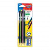 Blister 4 Lápis Hexa HB c/ Borracha + Afia Colorino