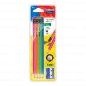 Blister 4 Lápis Hexa Neon HB c/ Borracha + Afia Colorino