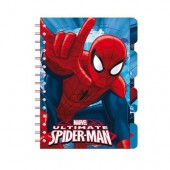 Bloco A5 com marcadores Spiderman