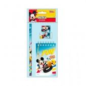 Bloco notas + 3 artigos papelaria Mickey Mouse