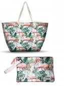 Bolsa Praia + Necessaire Oh My Pop Flamingo