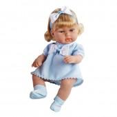 Boneca Elegance 2 Lacinhos Azul 33 cm