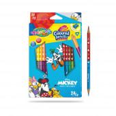 Caixa 12 Lápis 24 Cores Mickey Colorino