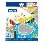 Caixa 12 Lápis de Cor bebé Milan Maxi super macio
