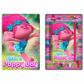 Caixa metálica + conjunto papelaria - Poppy Trolls
