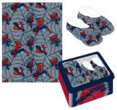 Caixa Metálica + Pantufas + Manta Spiderman