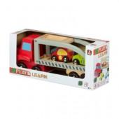 Camião reboque de madeira + 3 carros - Play & Learn