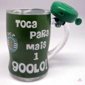 Caneca de vidro com campainha do Sporting