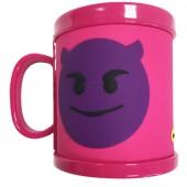 Caneca rosa de plástico 3D Emoji - Demónio