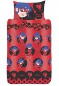 Capa de edredon + almofada vermelha de LadyBug