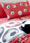 Capa de Edredon e Fronha Futebol Vermelho Solteiro