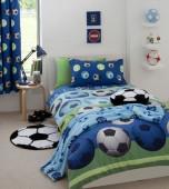 Capa de Edredon e Fronhas Futebol Azul Casal