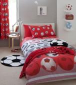 Capa de Edredon e Fronhas Futebol Vermelho Casal