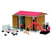 Celeiro c/ máquina de construção e figura