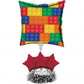 Centro Mesa com Balão Foil Lego
