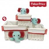 Cesto de vime Fisher Price - Conjunto Elefante