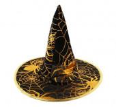 Chapéu Bruxa com uma teia de aranha dourada