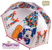 Chapéu Chuva Bolha Transparente Mickey Disney 45cm