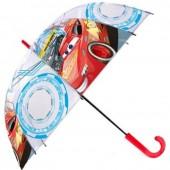 Chapéu chuva transparente bolha 48cm automático de Cars