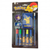 Conj. papelaria 9 peças Pokemon Pikachu