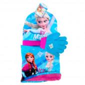 Conj. polar gorro+luvas+cachecol Elsa Frozen