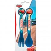 Conjunto 2 talheres plástico Cars Disney - Neon Racers