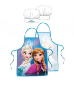 Conjunto avental cozinha + chapéu Irmãs Frozen