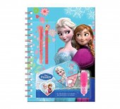 Conjunto caderno papelaria Frozen Sisters