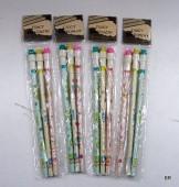 Conjunto de 3 lápis com borracha