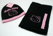 Conjunto Gorro + Cachecol Hello Kitty Black & Pink