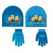 Conjunto Gorro + Luvas Azul Minions Le Buddies