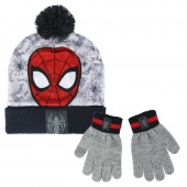 Conjunto gorro pompom + luvas Spiderman