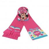 Conjunto inverno 3 pçs gorro+luvas+cachecol Minnie Smile