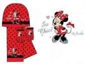 Conjunto Minnie gorro luvas cachecol vermelho