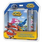 Conjunto Papelaria Livro de notas + caneta Super Wings