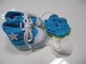 Conjunto sapatinhos e fita cabelo bebé várias cores