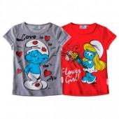 Conjunto Tshirts  Vermelho + Cinza Smurfs