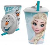 Copo 3D com palhinha de Elsa Frozen e Olaf