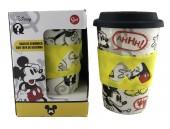 Copo cerâmica c/tampa silicone Mickey Disney