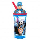 Copo com palhinha Capitão América 3D