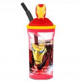 Copo com palhinha Iron Man 3D