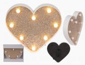 Coração Glitter com Luz Led Decoração